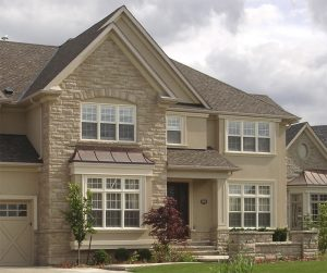 Terra Walling in Sierra Blend – Accessories in Sierra Blend: Rock Face Sills and Terra Walling Soldiered Arch Accent above second floor window